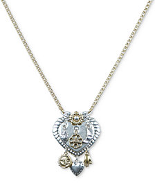"""Lucky Brand Two-Tone Heart Dangle Pendant Necklace, 30"""" + 2"""" extender"""