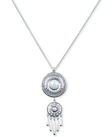 "Lucky Brand Silver-Tone Imitation Pearl & Crystal Double Drop Fringe 32"" Pendant Necklace"