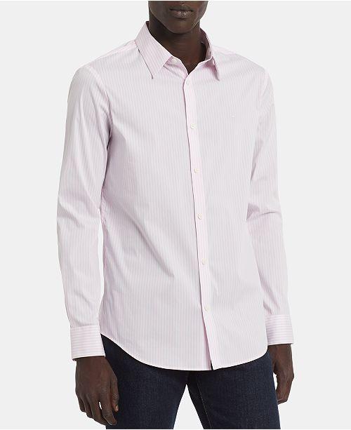 Calvin Klein Men's Big & Tall Slim-Fit Stretch End-On-End Stripe Shirt