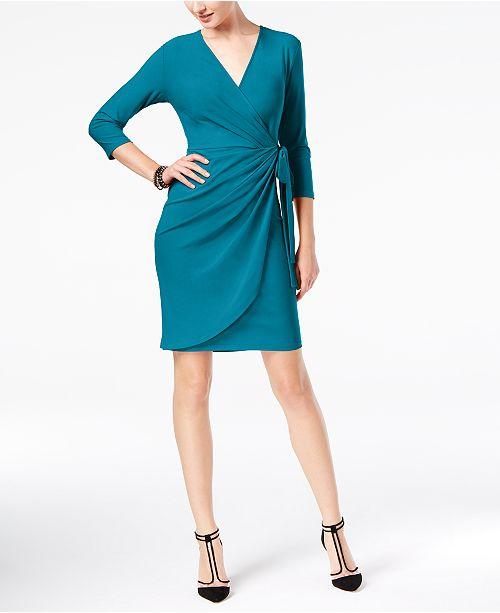 4a290e70e766d ... INC International Concepts I.N.C. Petite Solid Wrap Dress, Created for  Macy's ...
