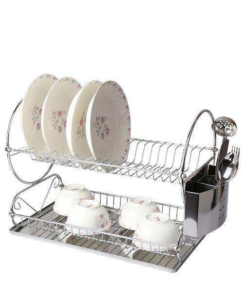 "MegaChef Chrome Plated 17.5"" Two Shelf Dish Rack"