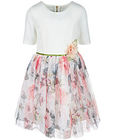 Pink & Violet Little Girls Ponté Knit Floral-Print Dress