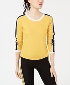 Crave Fame Juniors' Striped-Sleeve Top
