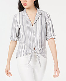 BCX Juniors' Textured Striped Tie-Waist Shirt