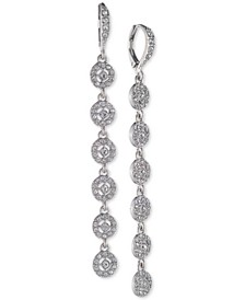 Crystal Halo Linear Drop Earrings