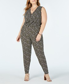 MICHAEL Michael Kors Plus Size Camo-Print Jumpsuit