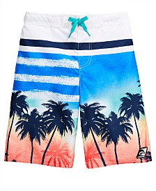 Laguna Big Boys Palm Tree Printed Swim Trunks
