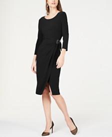 I.N.C. Grommet-Detail Wrap-Skirt Dress, Created for Macy's