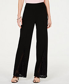 I.N.C. Petite Lace-Detail Wide-Leg Pants, Created for Macy's