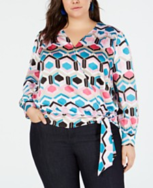I.N.C. Plus Size Printed Wrap Blouse, Created for Macy's
