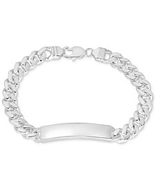 Curb Chain ID Bracelet in Sterling Silver