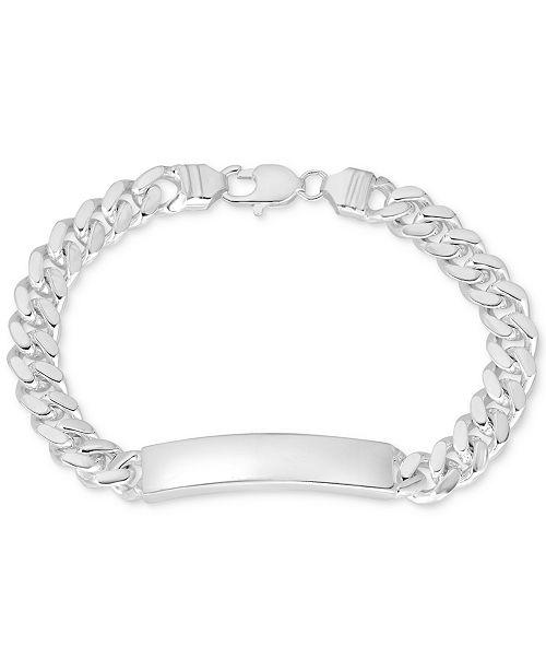 Macy's Cuban Chain ID Bracelet in Sterling Silver