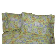 Turtle Snails Sage King Heather Flannel Sheet Set King