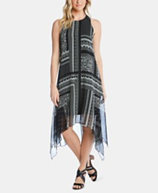Karen Kane Printed Handkerchief-Hem Sleeveless Dress