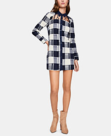 BCBGeneration Plaid Caged-Neck Shirtdress