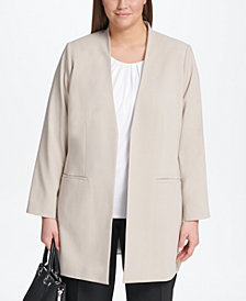 Calvin Klein Plus Size Roll-Sleeve Topper Jacket