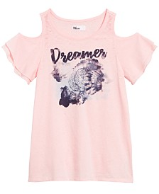 Epic Threads Big Girls Graphic-Print Cold-Shoulder T-Shirt, Created for Macy's