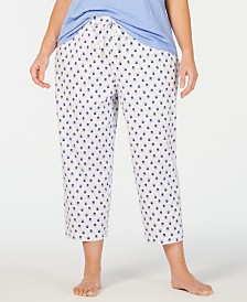 Charter Club Plus Size Soft Knit Cotton Pajama Pants, Created for Macy's