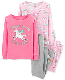 Carter's Little Girls 4-Pc. Unicorn Graphic Cotton Pajamas Set