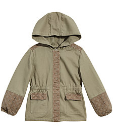 Epic Threads Toddler Girls Hooded Mixed Media Cotton Jacket, Created for Macy's