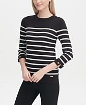 048cbccd3d2 Calvin Klein Striped Cuffed-Sleeve Sweater