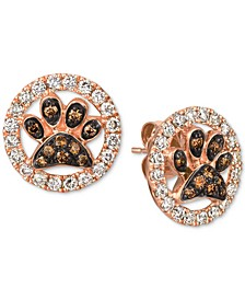 Chocolate (1/5 ct. t.w.) and Nude (5/8 ct. t.w.) Diamond Paw Earrings in 14k Rose Gold