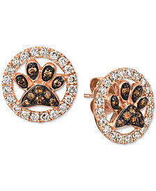 Le Vian® Chocolate (1/5 ct. t.w.) and Nude (5/8 ct. t.w.) Diamond Paw Earrings in 14k Rose Gold