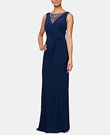 Alex Evenings Petite Embellished Ruched Gown