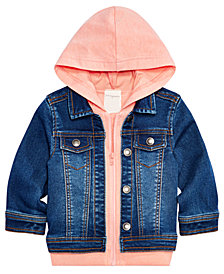 First Impressions Baby Boys Faux-Layer Hooded Denim Jacket, Created for Macy's