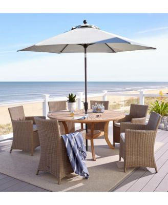 """San Andres Teak Outdoor 7-Pc. Dining Set (59"""" Round Lazy Susan Table & 6 Dining Chairs), Created for Macy's"""