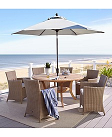 "San Andres Teak Outdoor 7-Pc. Dining Set (59"" Round Lazy Susan Table & 6 Dining Chairs), Created for Macy's"