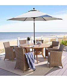 "San Andres Outdoor 7-Pc. Dining Set (59"" Round Lazy Susan Table & 6 Dining Chairs), Created for Macy's"