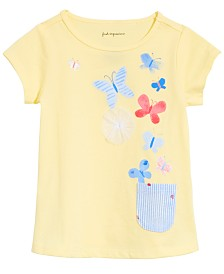 First Impressions Baby Girls Butterfly-Print Pocket T-Shirt, Created for Macy's