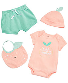 First Impressions Baby Girls Orange Bodysuit, Shorts, Big & Cap Separates, Created for Macy's
