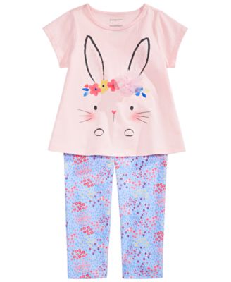 Baby Girls Flower Crown Bunny Graphic T-Shirt, Created for Macy's