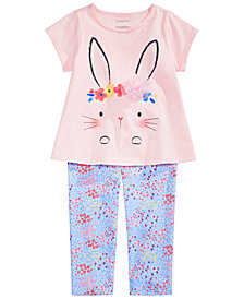 First Impressions Baby Girls Bunny T-Shirt & Mini Floral-Print Leggings Separates, Created for Macy's