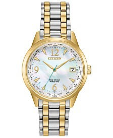 Citizen Eco-Drive Women's World Time (non A-T) Two-Tone Stainless Steel Bracelet Watch 36mm