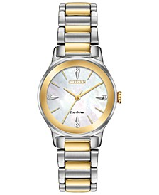 Eco-Drive Women's Axiom Two-Tone Stainless Steel Bracelet Watch 28mm