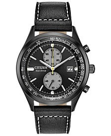 Eco-Drive Men's Chandler Black Leather Strap Watch 43mm