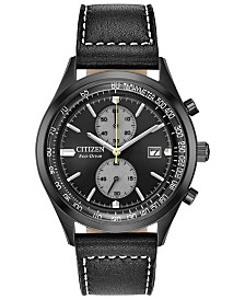 Citizen Eco-Drive Men's Chandler Black Leather Strap Watch 43mm