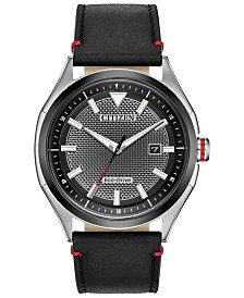 Citizen Drive From Citizen Eco-Drive Men's WDR Black Leather Strap Watch 41mm