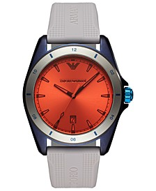 Men's Gray Silicone Strap Watch 44mm