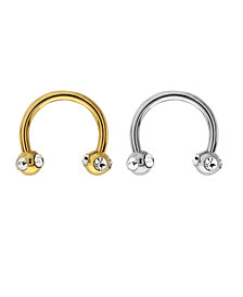 Bodifine Stainless Steel Crystal Eyebrow Hoops Set of 2