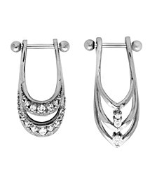 Bodifine Stainless Steel Set of 2 Crystal Shield Helix Bars