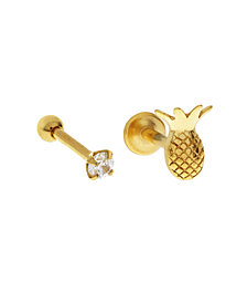 Bodifine Stainless Steel Set of 2 Cz and Pineapple Tragus