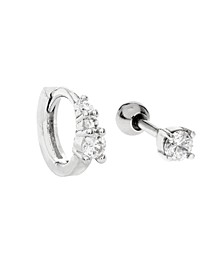 Bodifine Stainless Steel Set of 2 Cz Tragus and Cartilage Ring