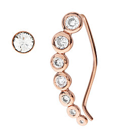 Bodifine Rose Gold Plated Sterling Silver Ear Climber and Stud Set