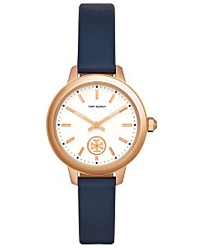 Tory Burch Women's Collins Navy Blue Leather Strap Watch 33mm