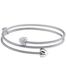 White Topaz Heart Cable Wrap Bracelet (1/10 ct. t.w.) in Stainless Steel and Sterling Silver