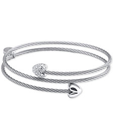 CHARRIOL White Topaz Heart Cable Wrap Bracelet (1/10 ct. t.w.) in Stainless Steel and Sterling Silver